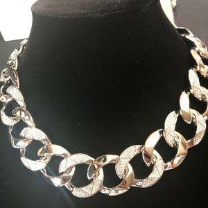Michael Kors Silvertone Pave Curb Link Necklace